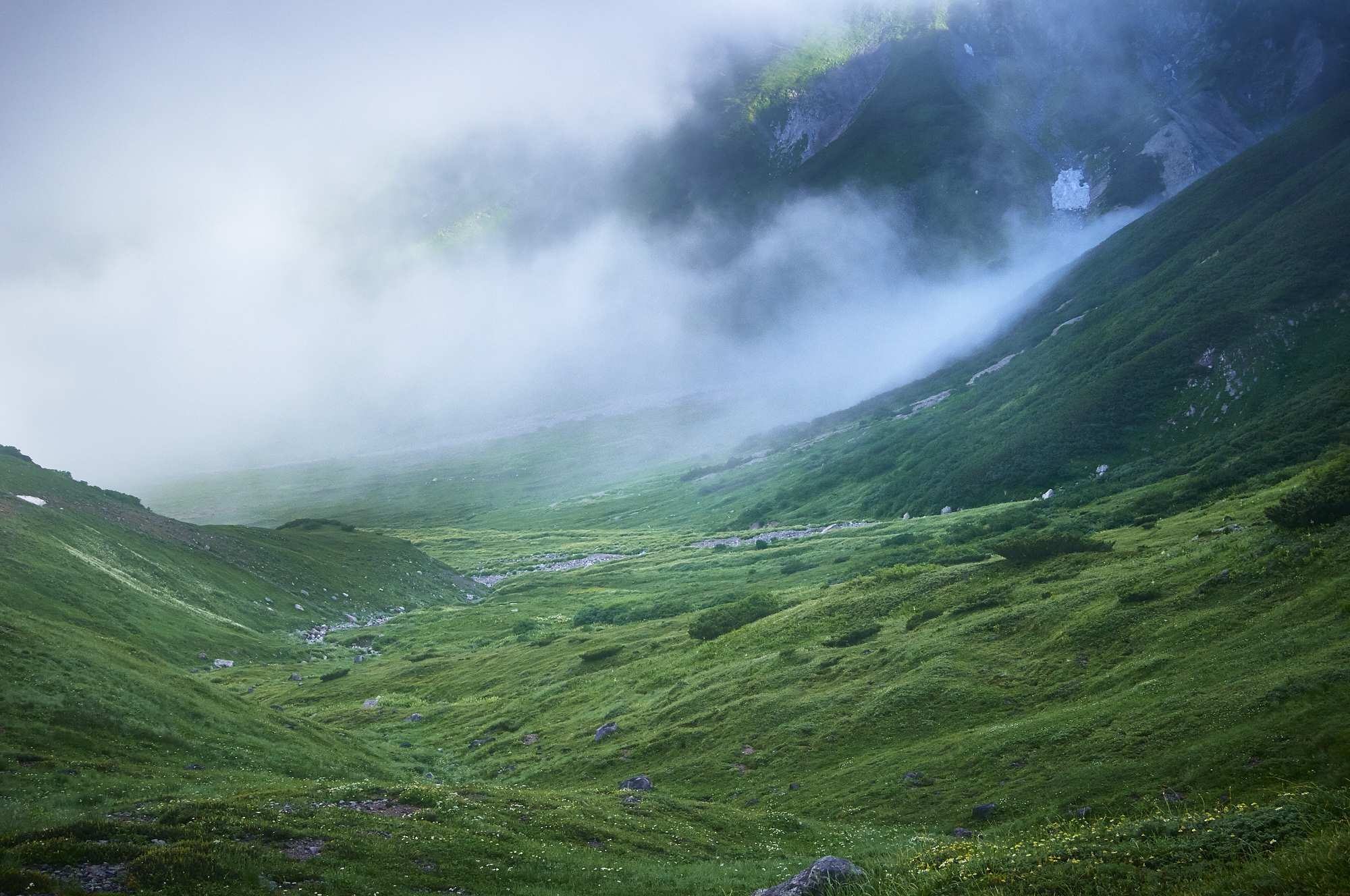 北アルプスの立山の一ノ越から黒部ダムへの登山道