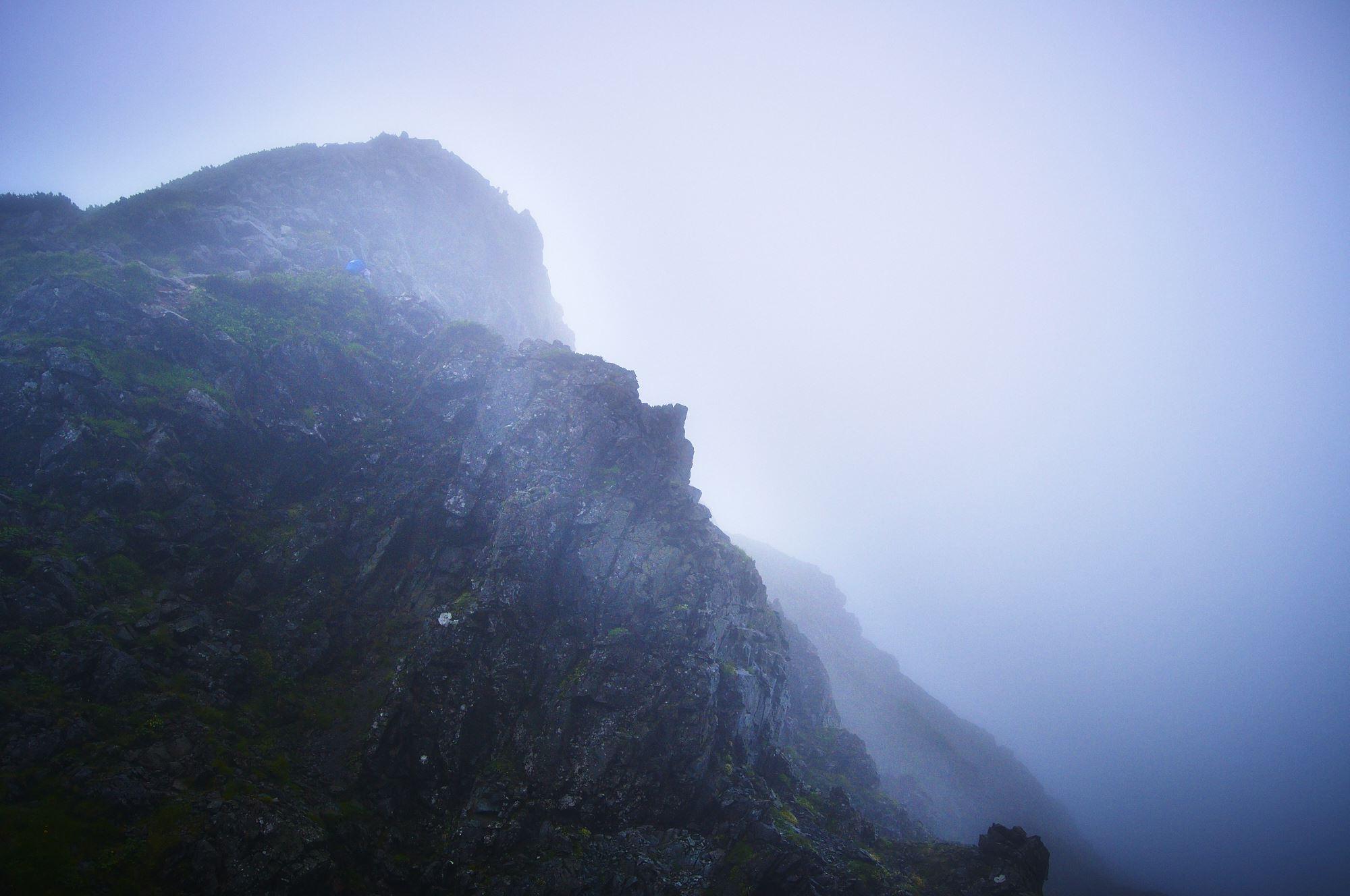 北アルプスの剱岳の登山道