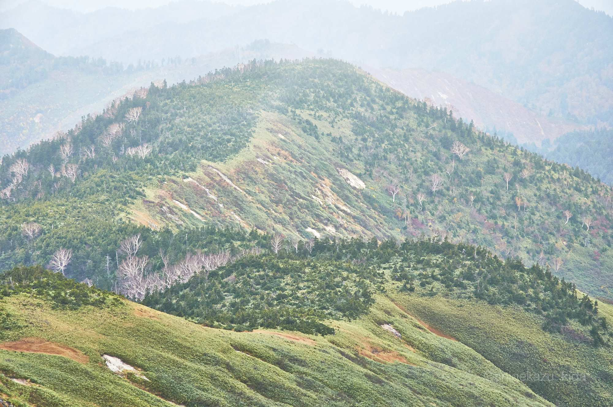 平ヶ岳の登山道から見る稜線