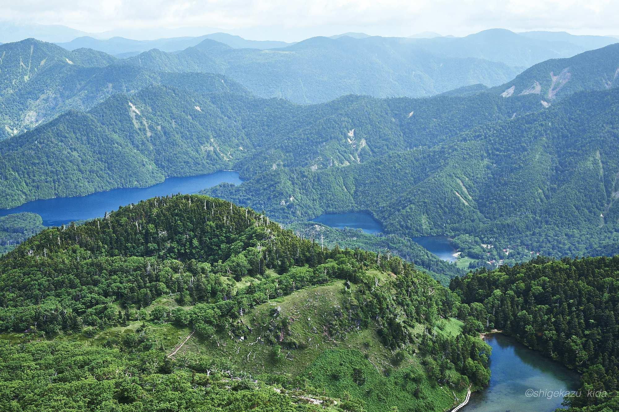 日光白根山山頂からの緑に覆われた弥陀ヶ池・菅沼・丸沼