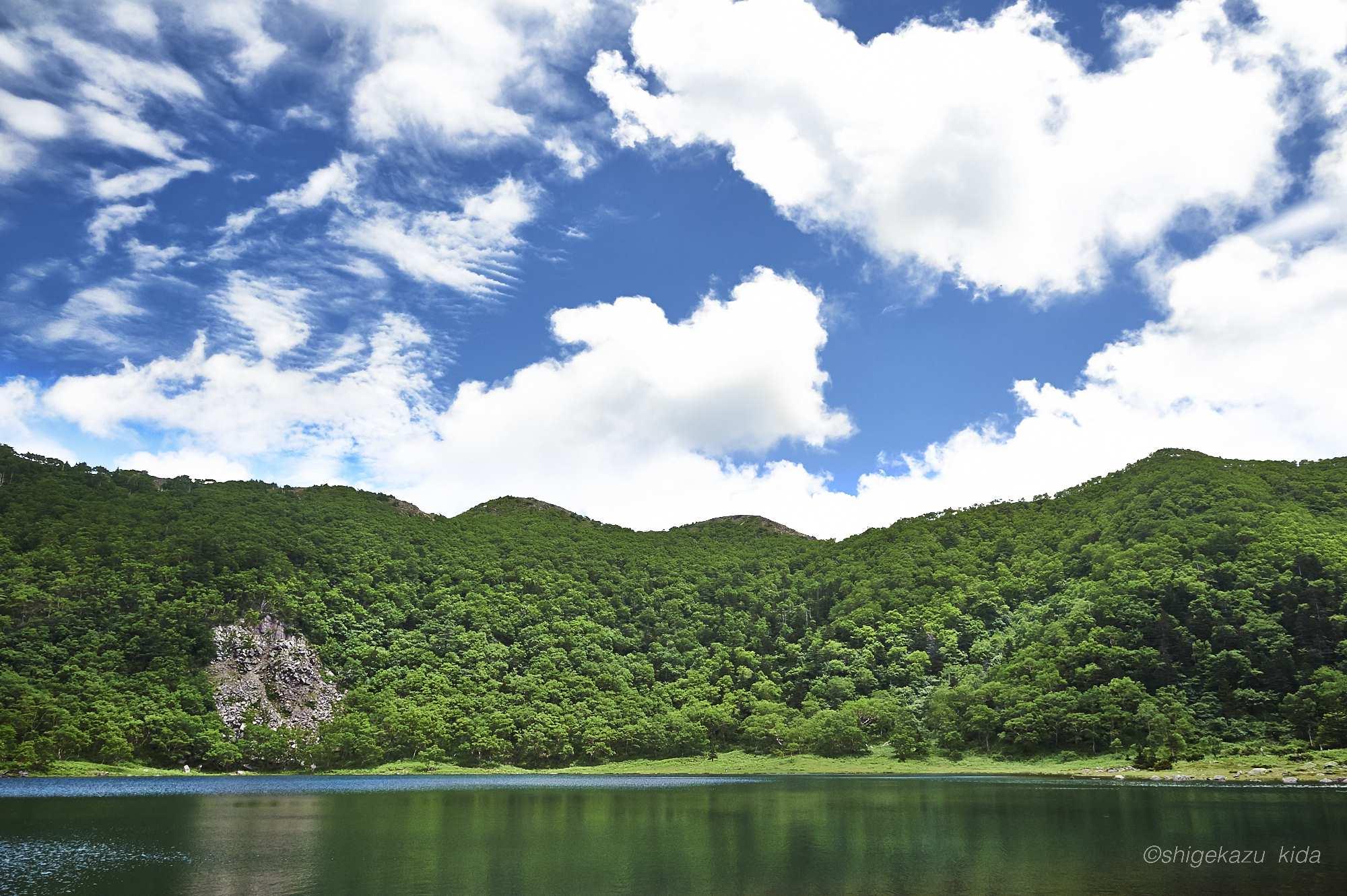 日光白根山の新緑のダケカンバと五色沼と五色山