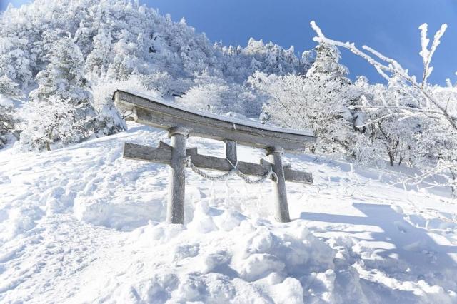 冬の雪山の石鎚山の霧氷と鳥居