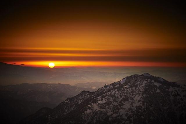 冬の西穂山荘からの夕暮れ